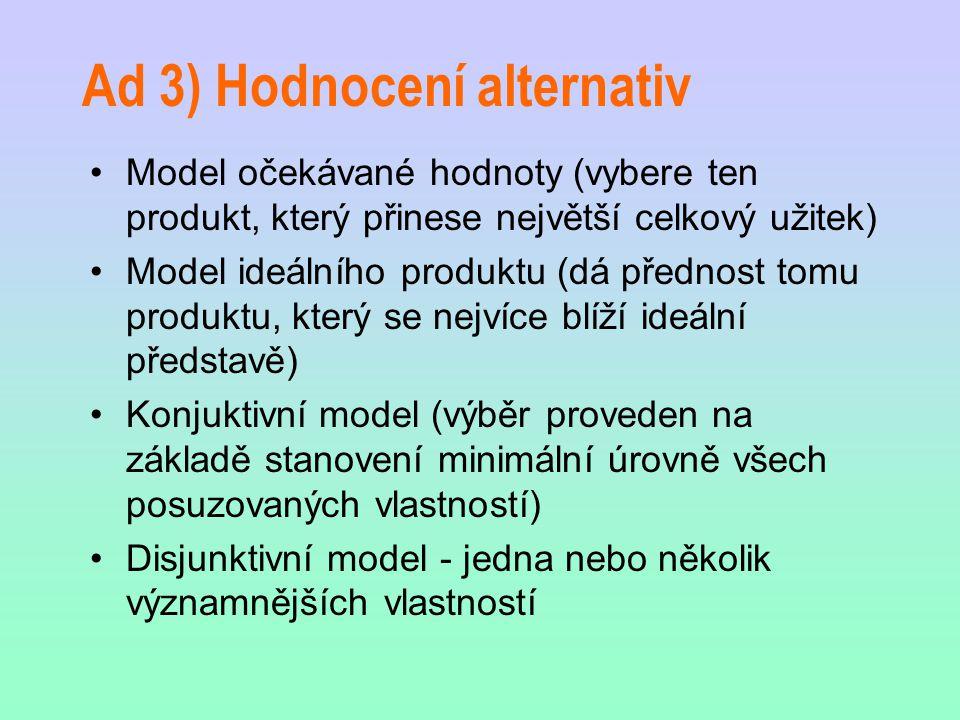 Ad 3) Hodnocení alternativ