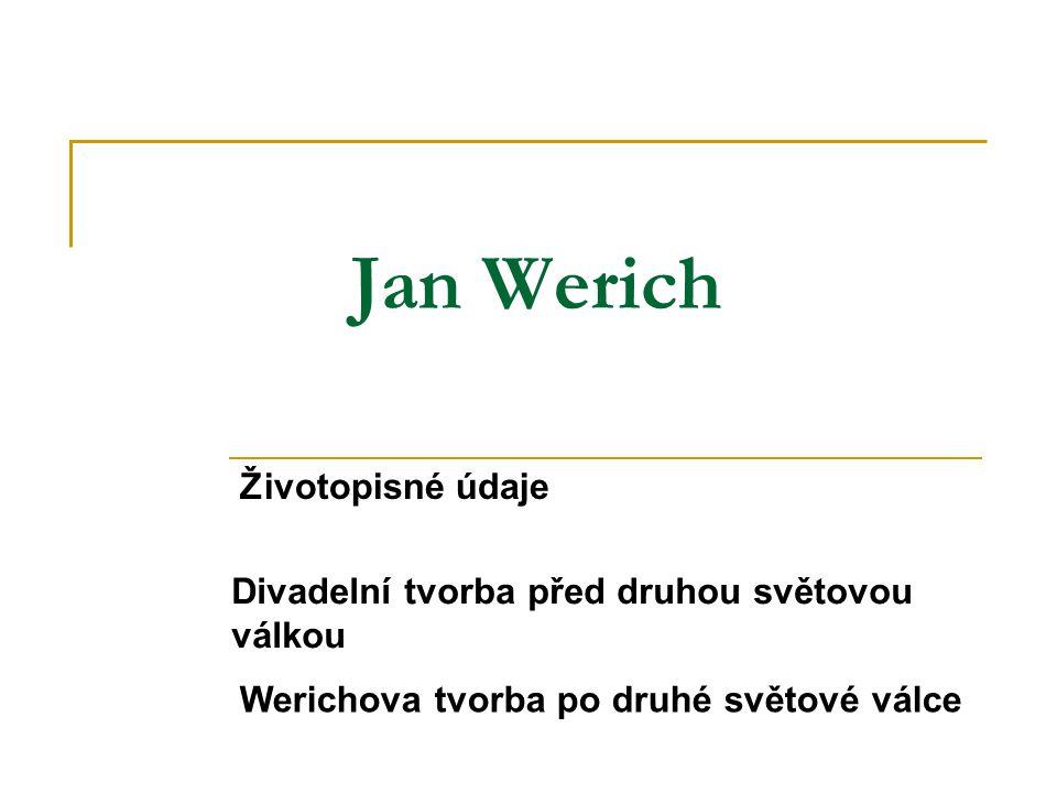 Jan Werich Životopisné údaje