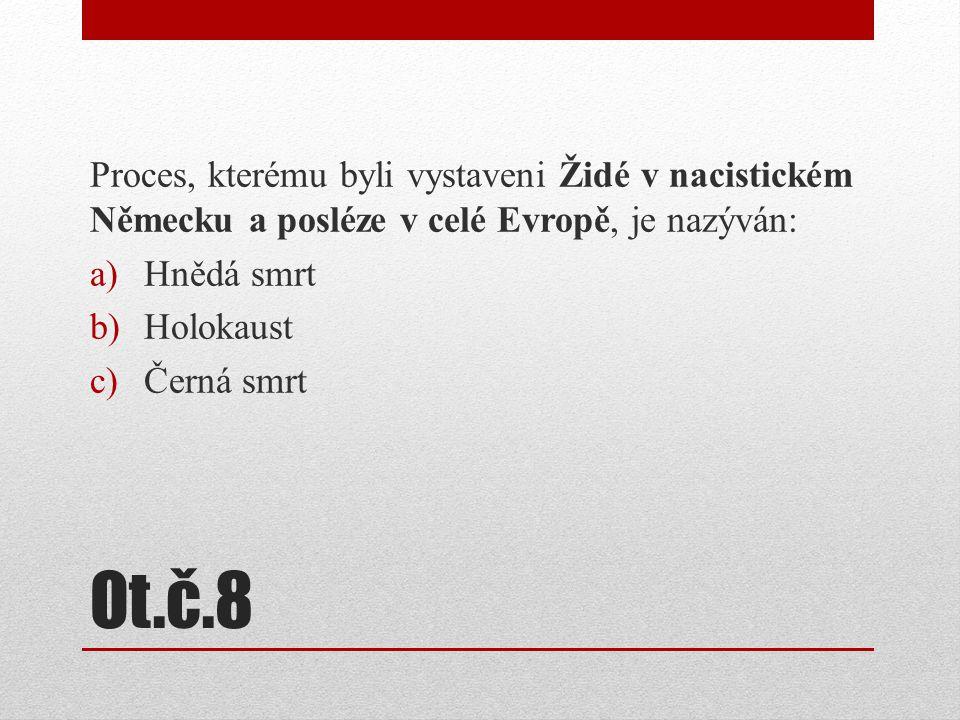 Proces, kterému byli vystaveni Židé v nacistickém Německu a posléze v celé Evropě, je nazýván: