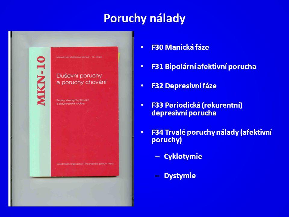Poruchy nálady F30 Manická fáze F31 Bipolární afektivní porucha