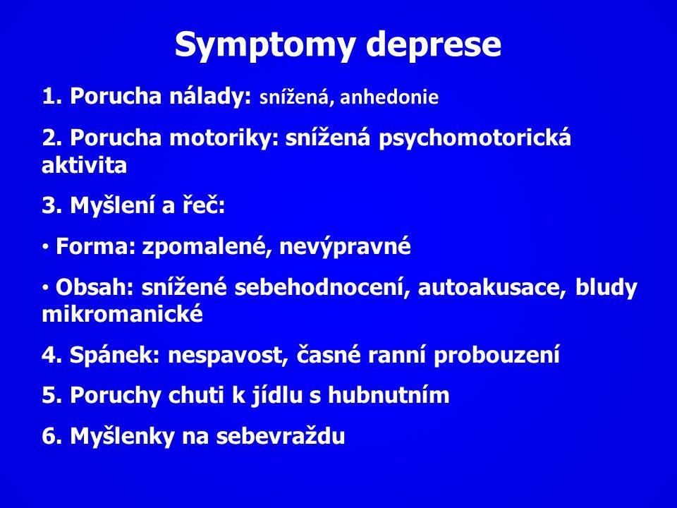 Symptomy deprese 1. Porucha nálady: snížená, anhedonie