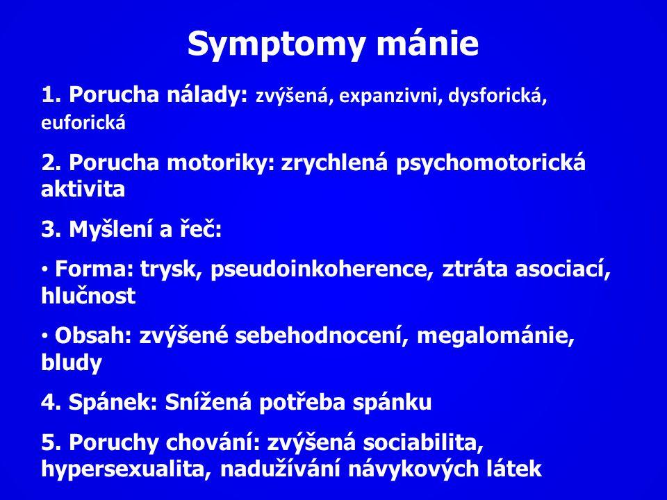 Symptomy mánie 1. Porucha nálady: zvýšená, expanzivni, dysforická, euforická. 2. Porucha motoriky: zrychlená psychomotorická aktivita.