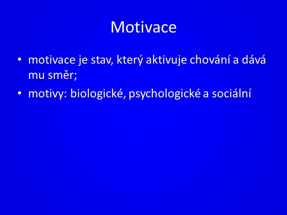 Motivace motivace je stav, který aktivuje chování a dává mu směr;