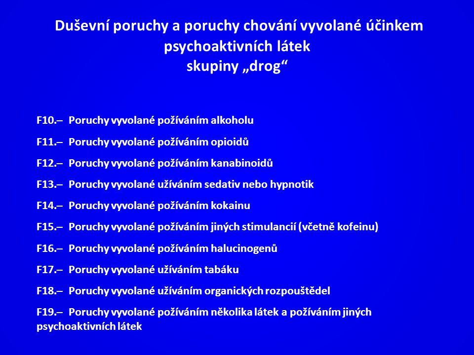 """Duševní poruchy a poruchy chování vyvolané účinkem psychoaktivních látek skupiny """"drog"""
