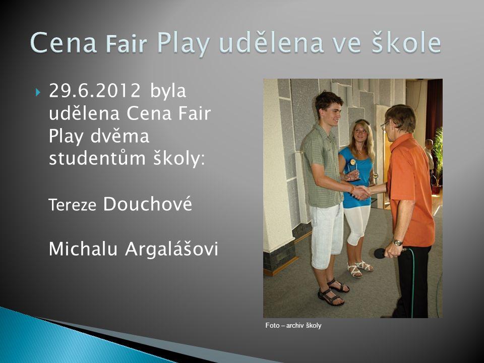 Cena Fair Play udělena ve škole