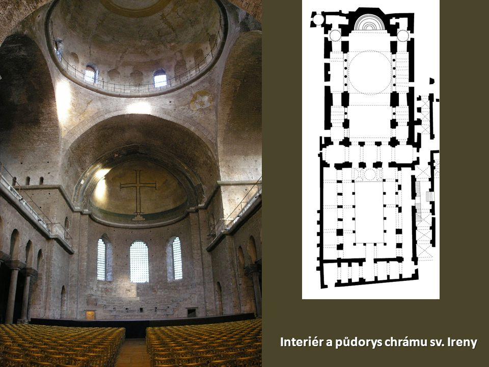 Interiér a půdorys chrámu sv. Ireny
