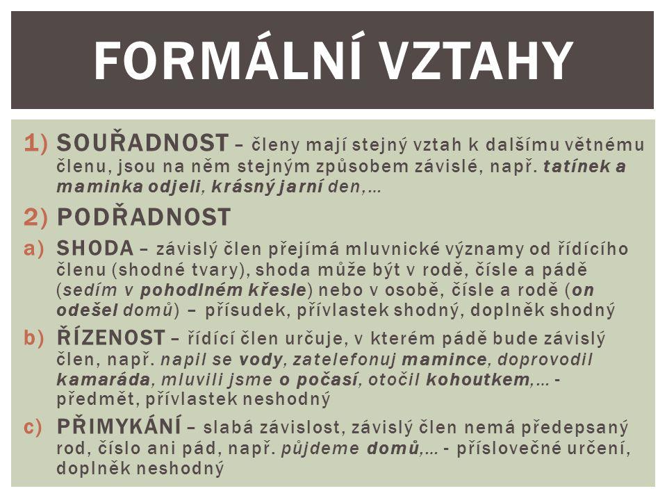 FORMÁLNÍ VZTAHY
