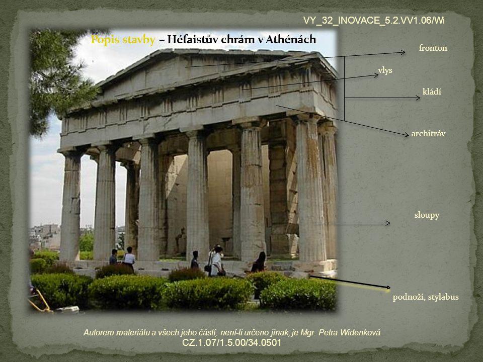 Popis stavby – Héfaistův chrám v Athénách