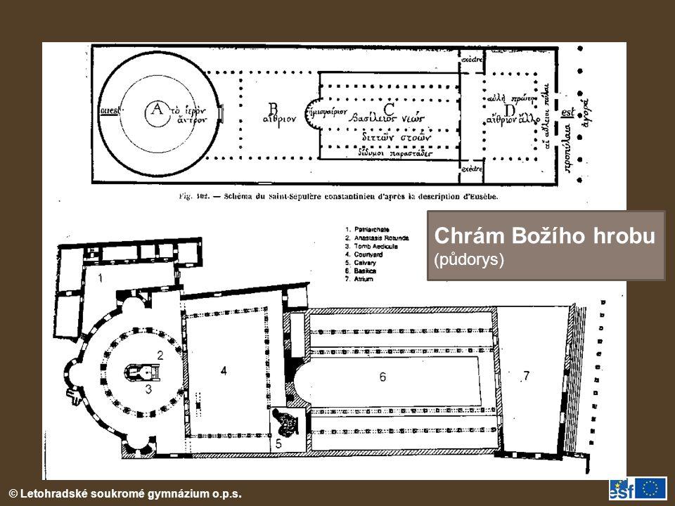 Chrám Božího hrobu (půdorys) Nákres chrám Božího hrobu v Jeruzalémě