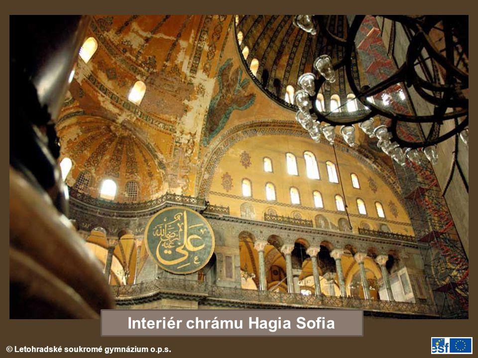 Interiér chrámu Hagia Sofia