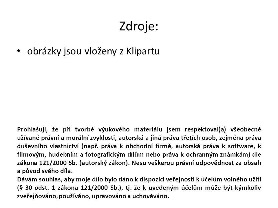 Zdroje: obrázky jsou vloženy z Klipartu