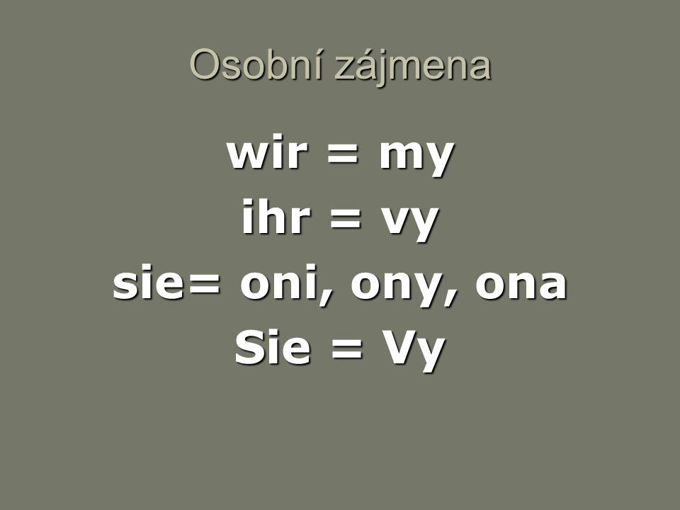 wir = my ihr = vy sie= oni, ony, ona Sie = Vy