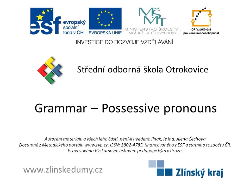 Grammar – Possessive pronouns