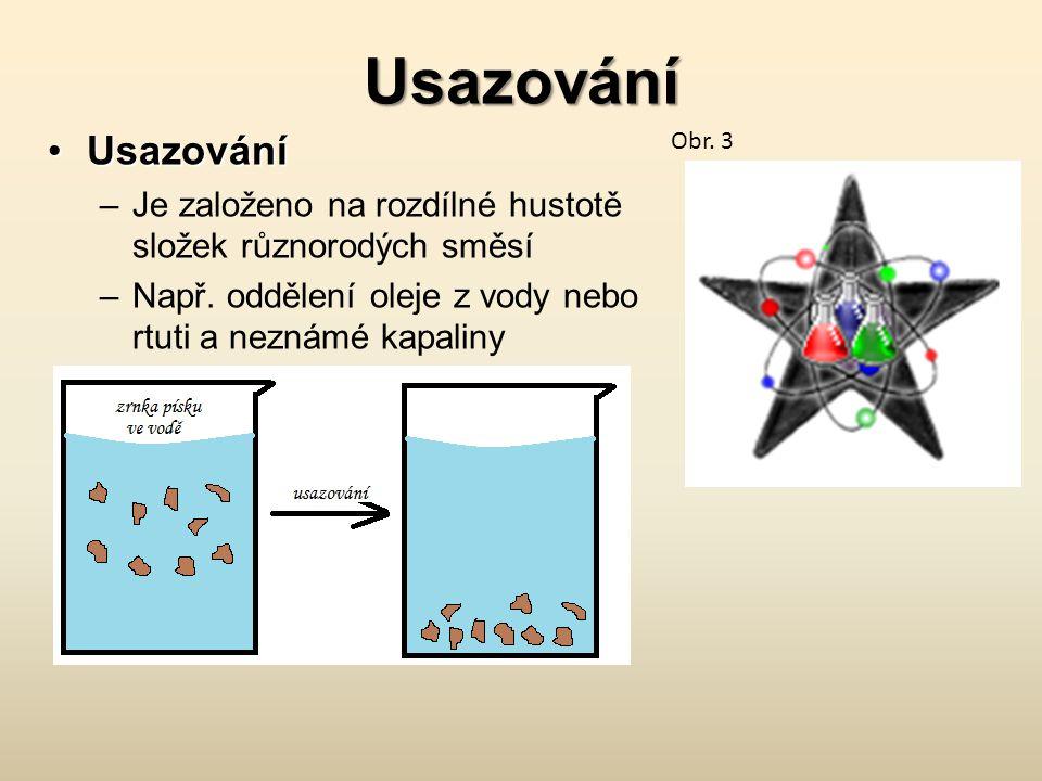 Usazování Usazování. Je založeno na rozdílné hustotě složek různorodých směsí. Např. oddělení oleje z vody nebo rtuti a neznámé kapaliny.