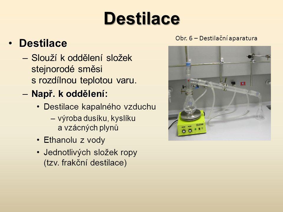 Destilace Obr. 6 – Destilační aparatura. Destilace. Slouží k oddělení složek stejnorodé směsi s rozdílnou teplotou varu.