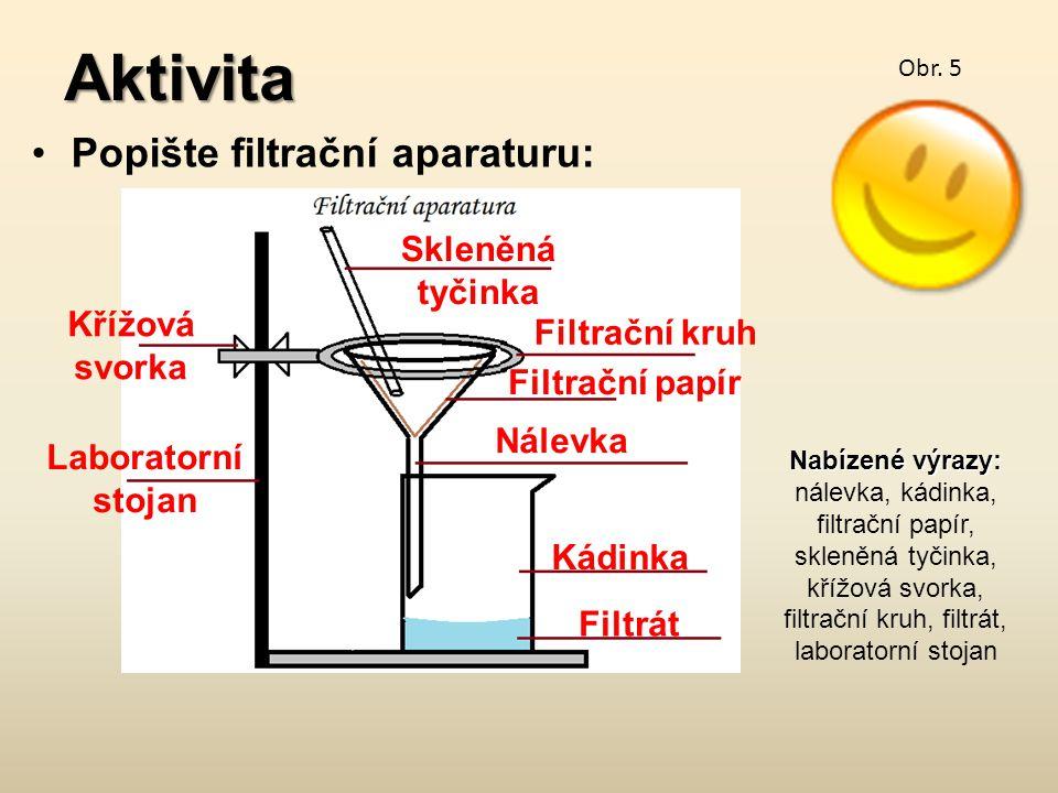 Aktivita Popište filtrační aparaturu: Skleněná tyčinka Křížová svorka