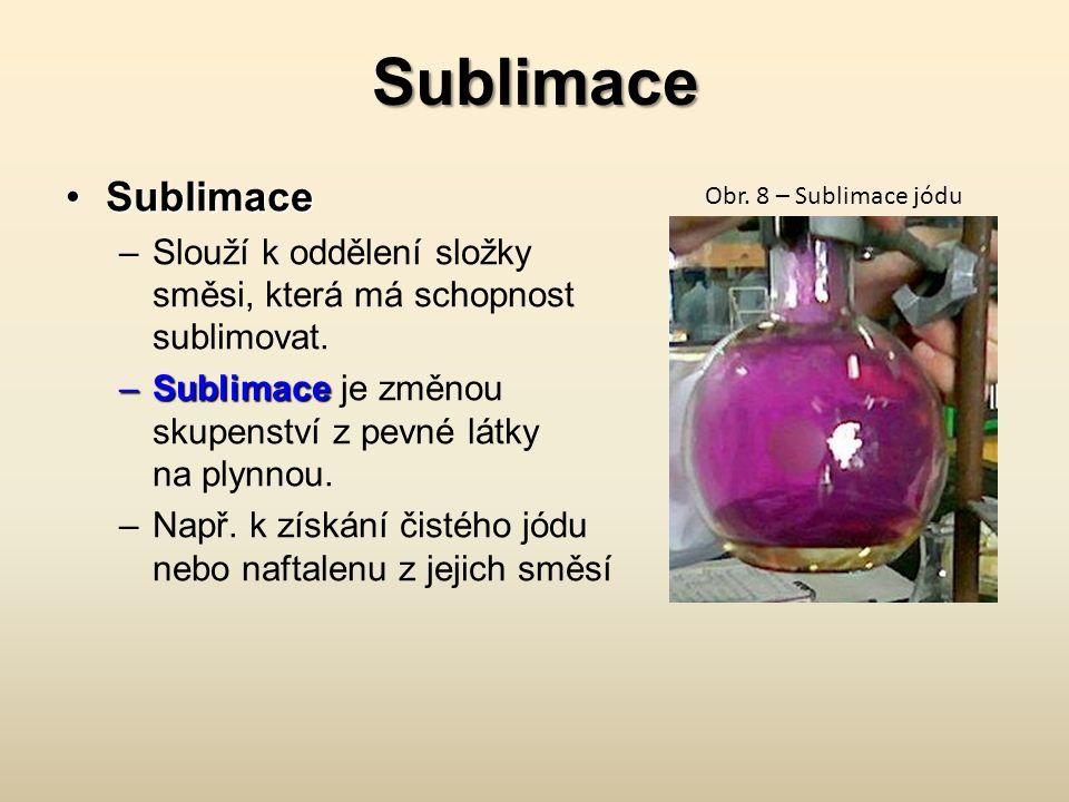 Sublimace Sublimace. Slouží k oddělení složky směsi, která má schopnost sublimovat. Sublimace je změnou skupenství z pevné látky na plynnou.