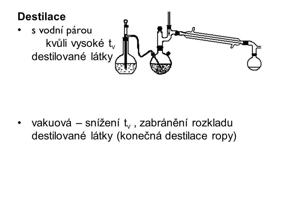 Destilace s vodní párou. kvůli vysoké tv. destilované látky.