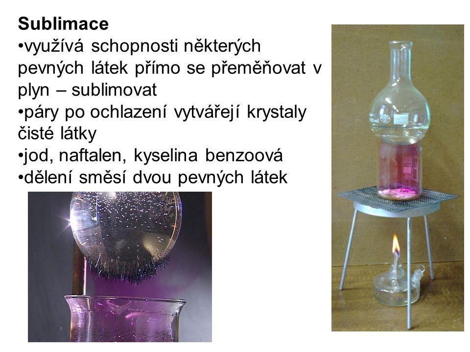 Sublimace využívá schopnosti některých pevných látek přímo se přeměňovat v plyn – sublimovat. páry po ochlazení vytvářejí krystaly čisté látky.
