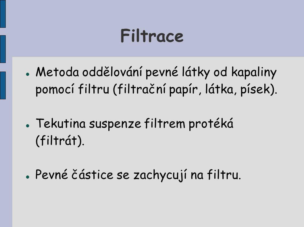 Filtrace Metoda oddělování pevné látky od kapaliny pomocí filtru (filtrační papír, látka, písek). Tekutina suspenze filtrem protéká (filtrát).