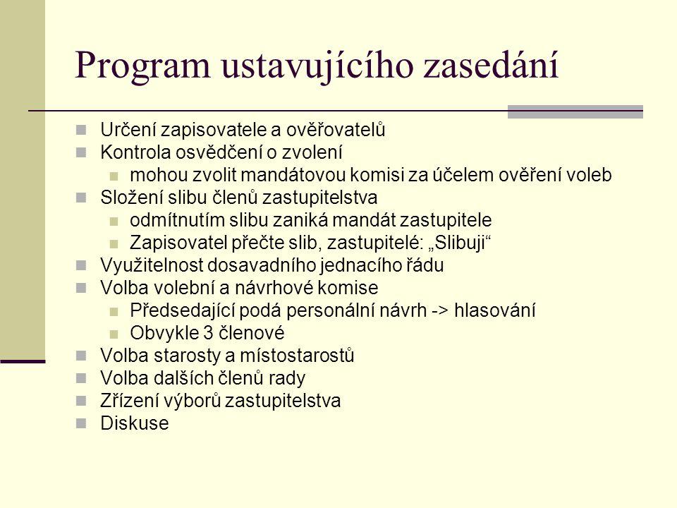 Program ustavujícího zasedání