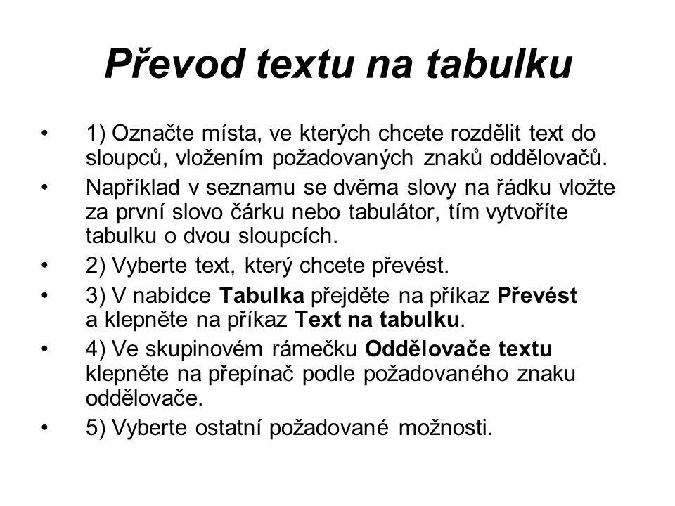 Převod textu na tabulku