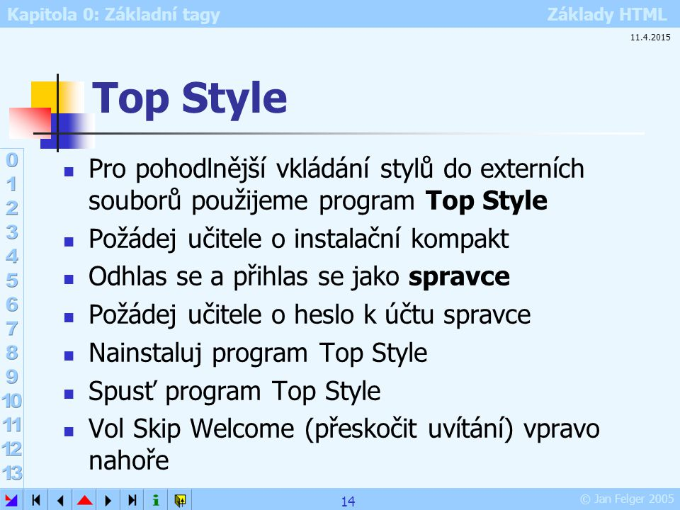 Top Style 10.4.2017. Pro pohodlnější vkládání stylů do externích souborů použijeme program Top Style.