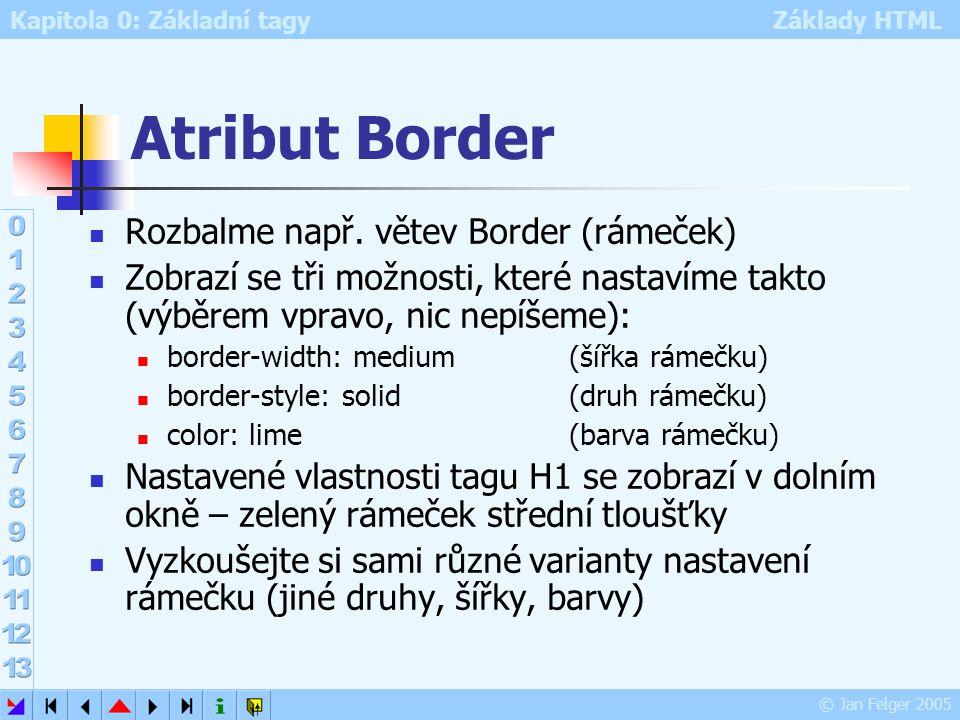 Atribut Border Rozbalme např. větev Border (rámeček)