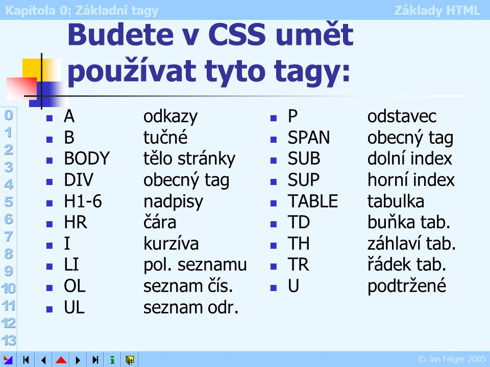 Budete v CSS umět používat tyto tagy: