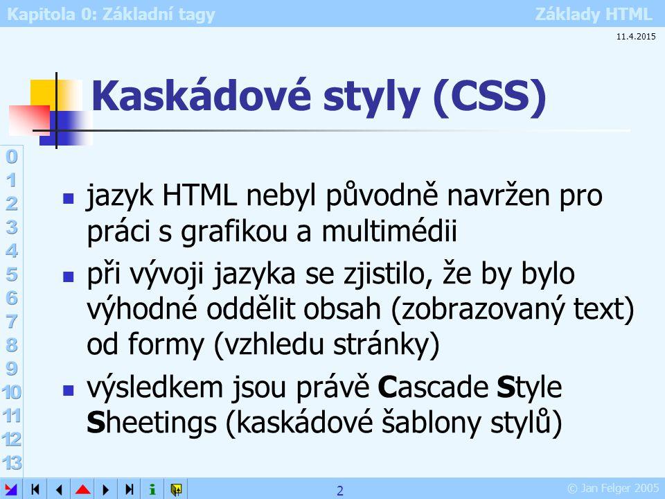 Kaskádové styly (CSS) 10.4.2017. jazyk HTML nebyl původně navržen pro práci s grafikou a multimédii.