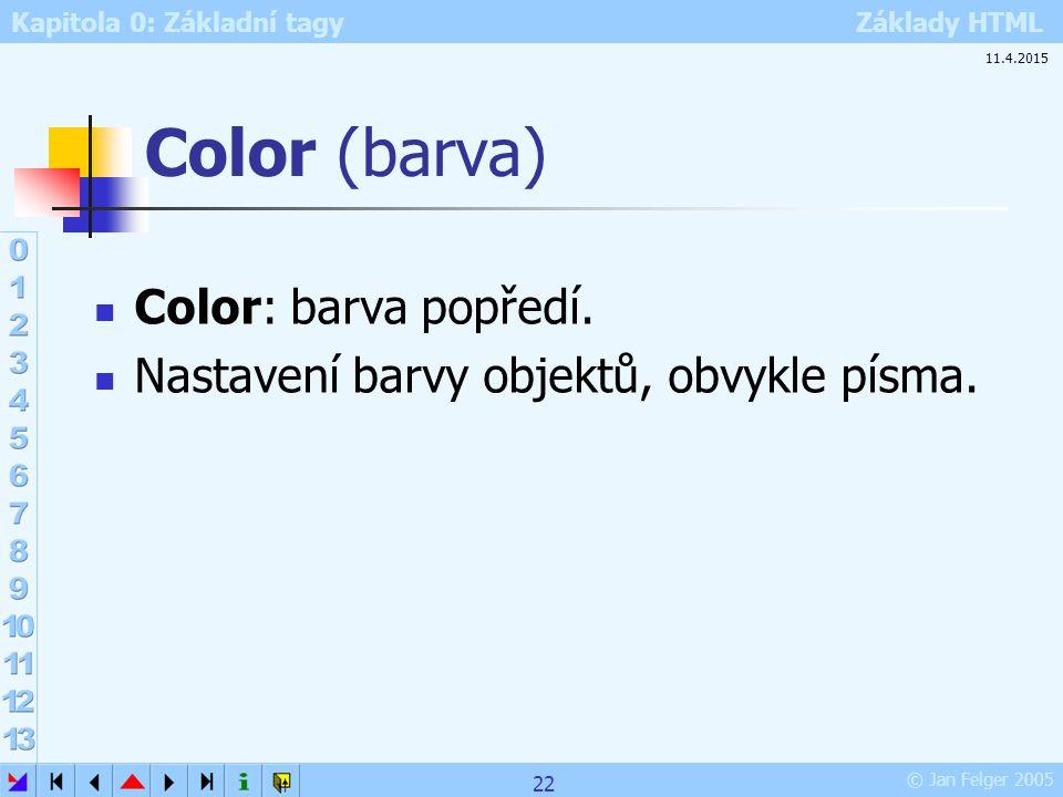 Color (barva) Color: barva popředí.