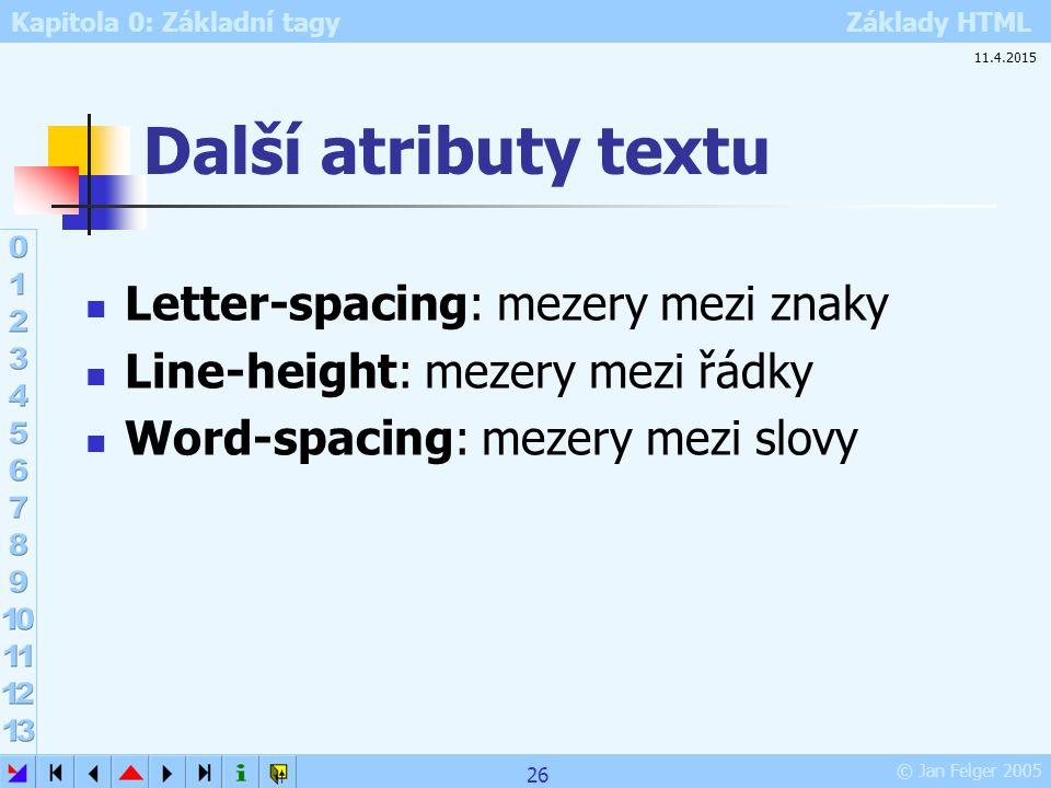 Další atributy textu Letter-spacing: mezery mezi znaky