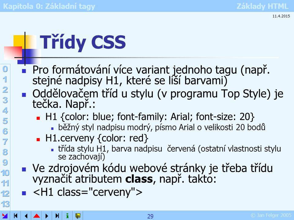 Třídy CSS 10.4.2017. Pro formátování více variant jednoho tagu (např. stejné nadpisy H1, které se liší barvami)