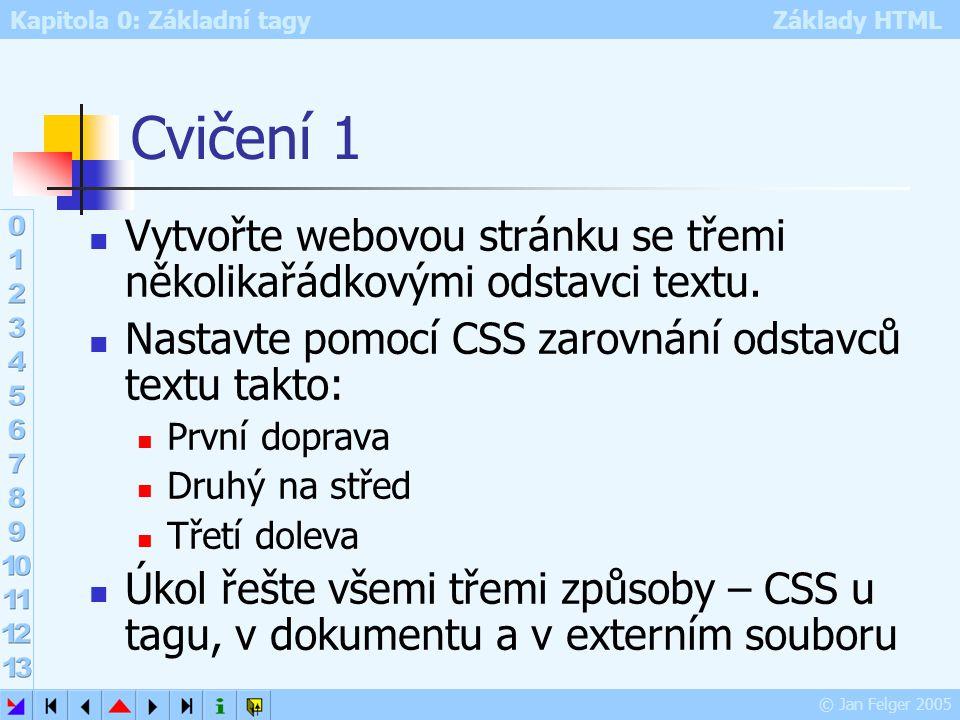 Cvičení 1 Vytvořte webovou stránku se třemi několikařádkovými odstavci textu. Nastavte pomocí CSS zarovnání odstavců textu takto: