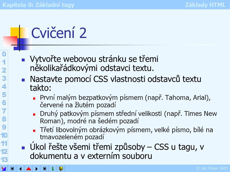 Cvičení 2 Vytvořte webovou stránku se třemi několikařádkovými odstavci textu. Nastavte pomocí CSS vlastnosti odstavců textu takto: