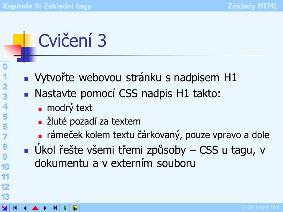 Cvičení 3 Vytvořte webovou stránku s nadpisem H1