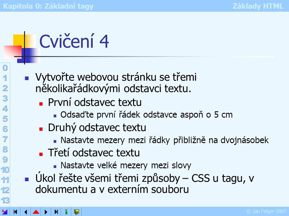 Cvičení 4 Vytvořte webovou stránku se třemi několikařádkovými odstavci textu. První odstavec textu.