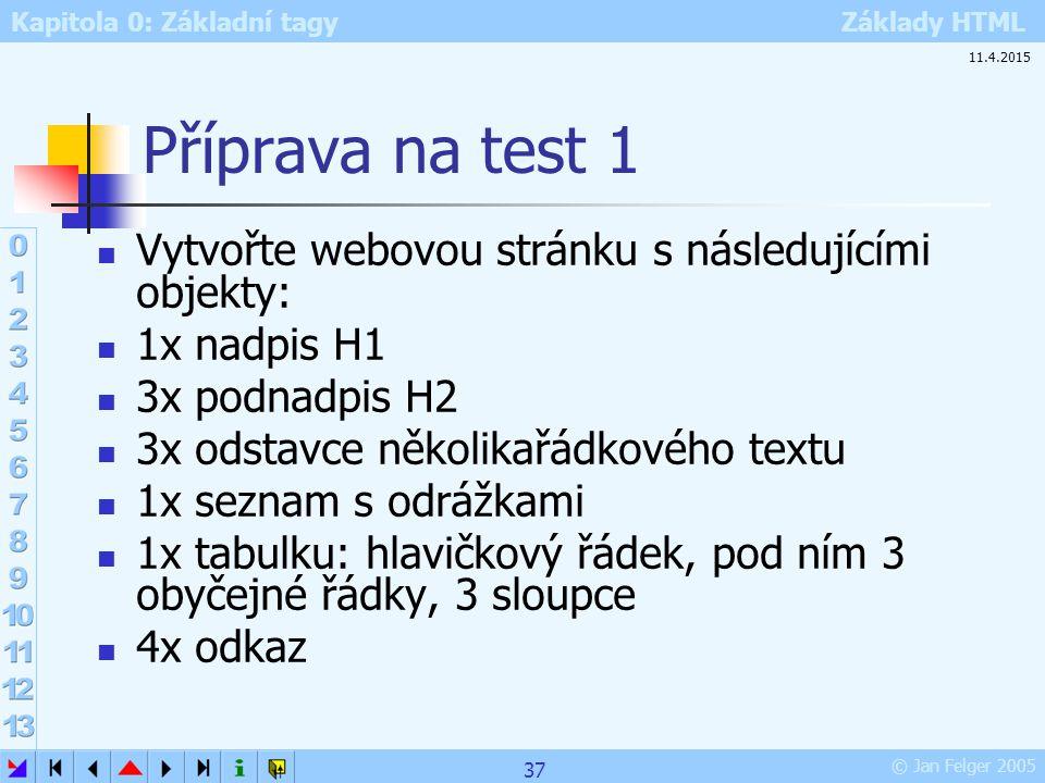 Příprava na test 1 Vytvořte webovou stránku s následujícími objekty: