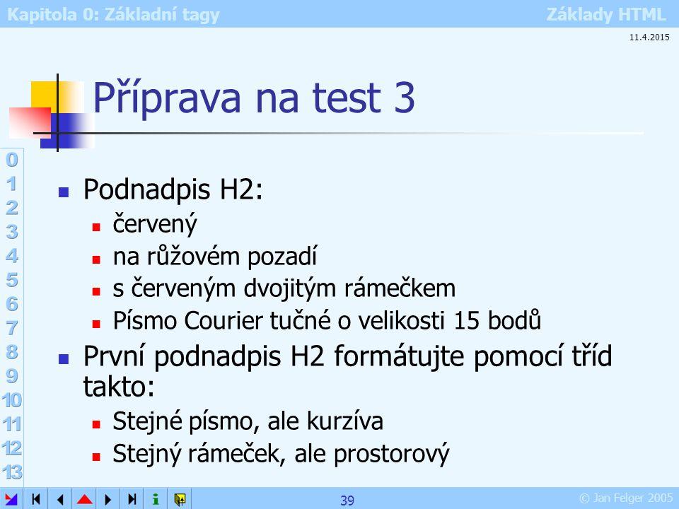 Příprava na test 3 Podnadpis H2: