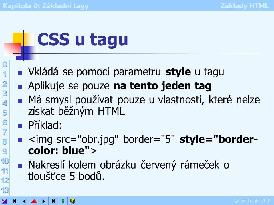 CSS u tagu Vkládá se pomocí parametru style u tagu