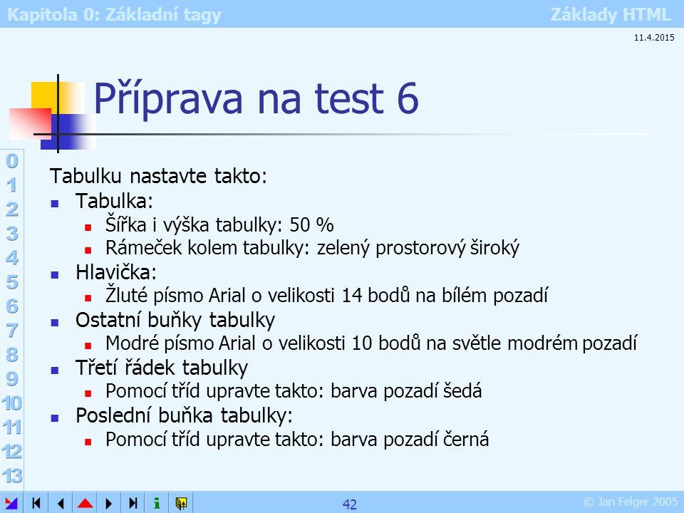 Příprava na test 6 Tabulku nastavte takto: Tabulka: Hlavička: