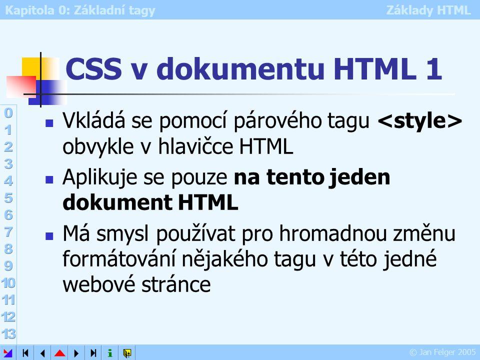 CSS v dokumentu HTML 1 Vkládá se pomocí párového tagu <style> obvykle v hlavičce HTML. Aplikuje se pouze na tento jeden dokument HTML.