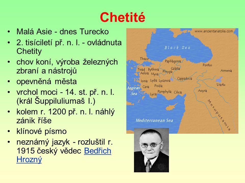 Chetité Malá Asie - dnes Turecko