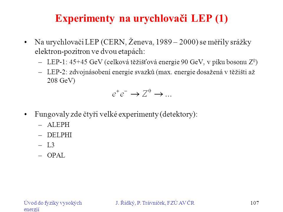 Experimenty na urychlovači LEP (1)
