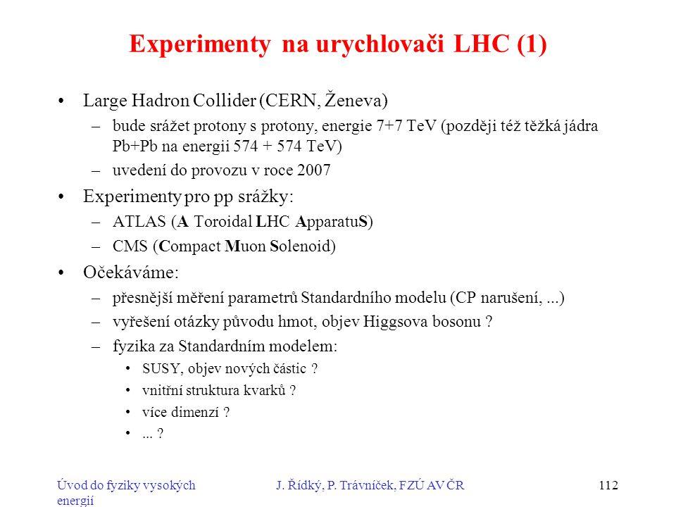 Experimenty na urychlovači LHC (1)