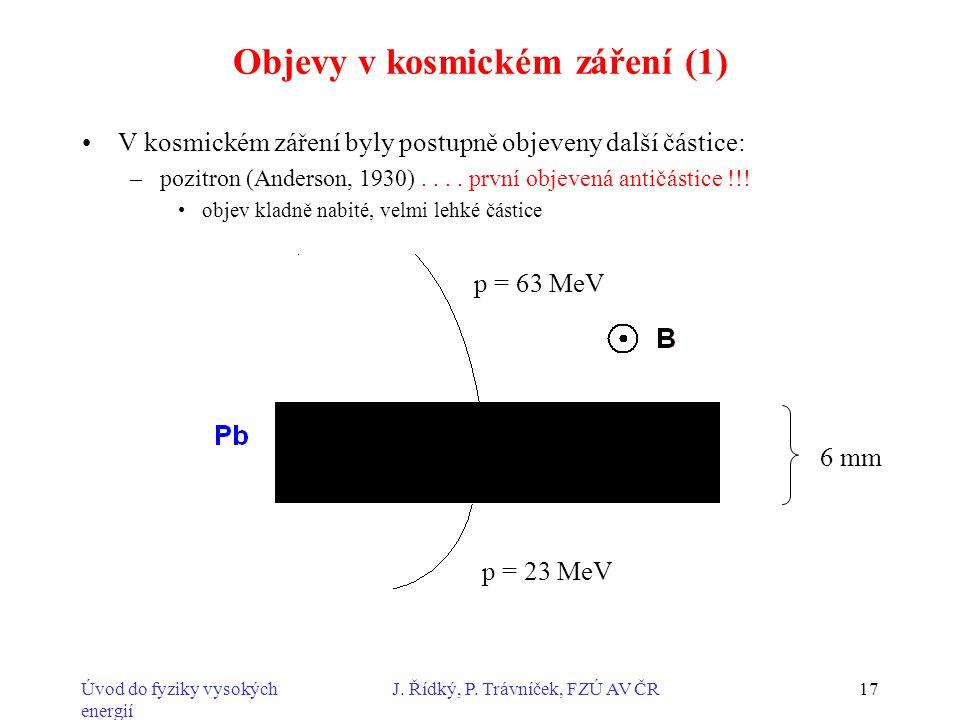 Objevy v kosmickém záření (1)
