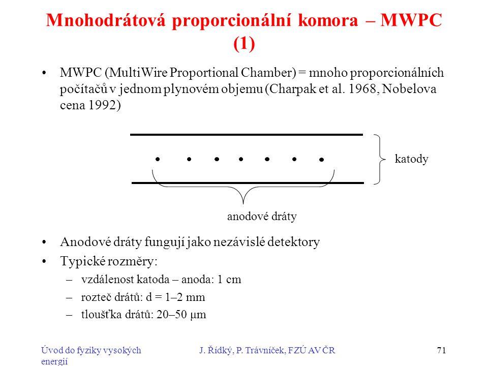 Mnohodrátová proporcionální komora – MWPC (1)