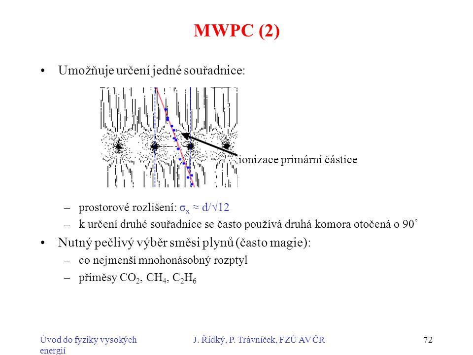 MWPC (2) Umožňuje určení jedné souřadnice: