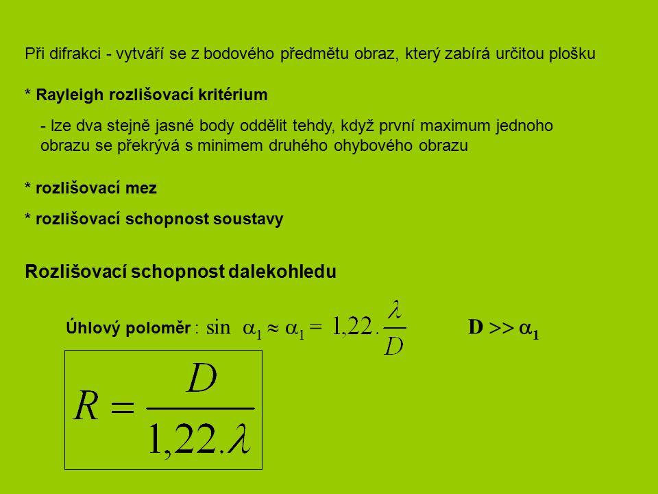 sin 1  1 = Rozlišovací schopnost dalekohledu