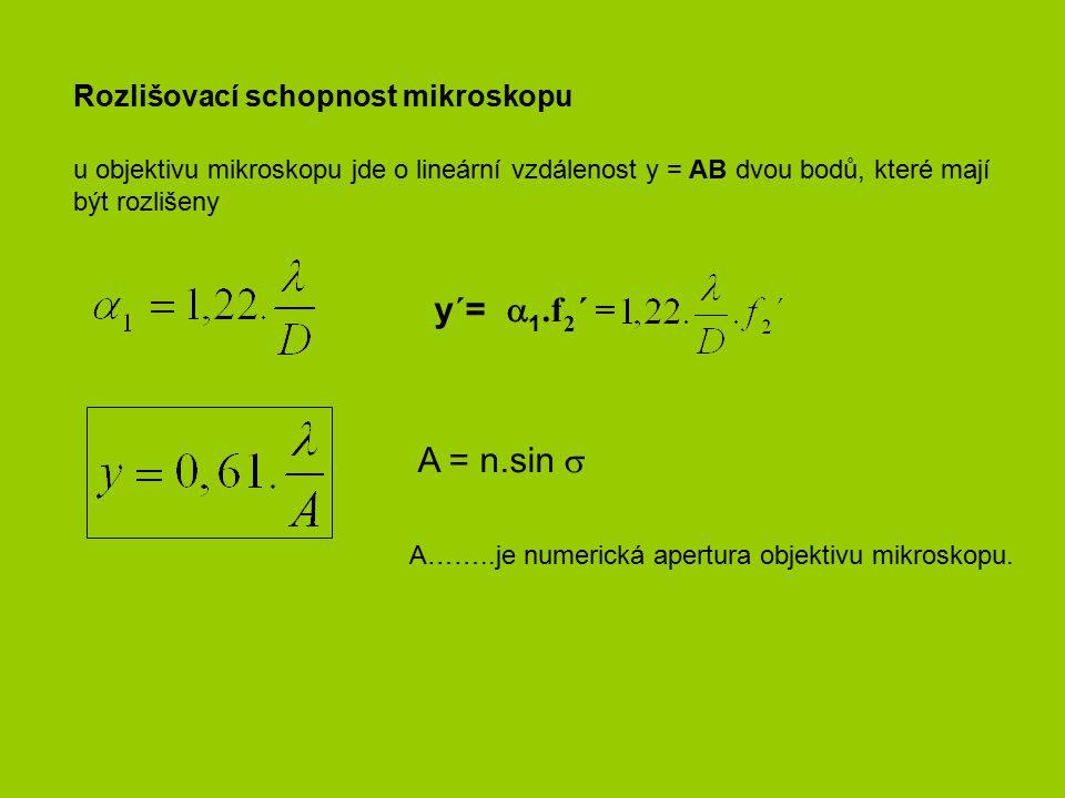 y´= 1.f2´ = A = n.sin  Rozlišovací schopnost mikroskopu